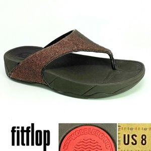 FitFlop ASTRID Sz 8 Copper Sequin Thong Sandal